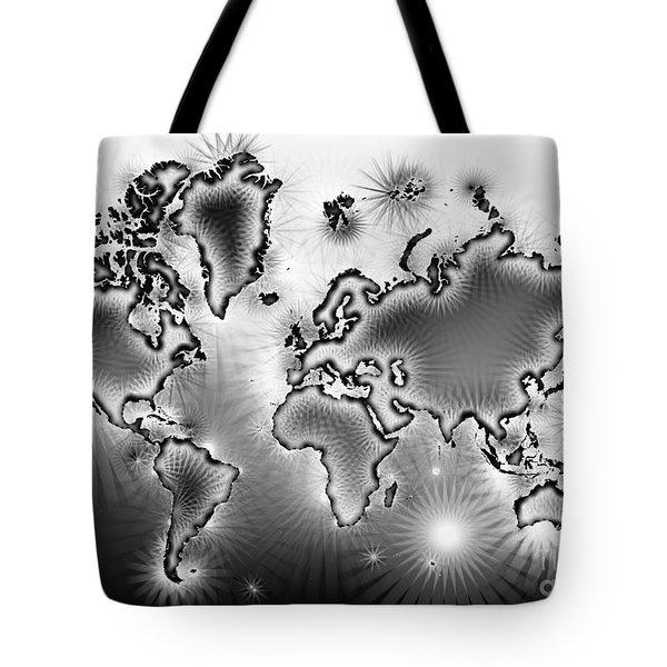 World Map Amuza In Black And White Tote Bag by Eleven Corners