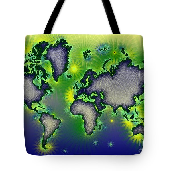 World Map Amuza In Blue Yellow And Green Tote Bag by Eleven Corners