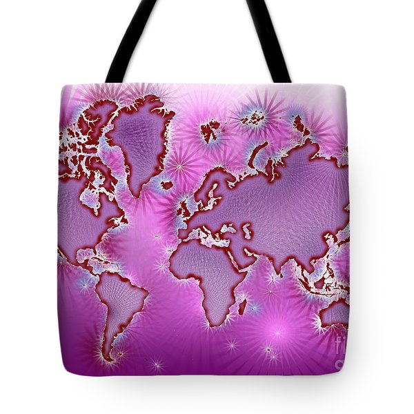 World Map Amuza In Pink And Purple Tote Bag by Eleven Corners