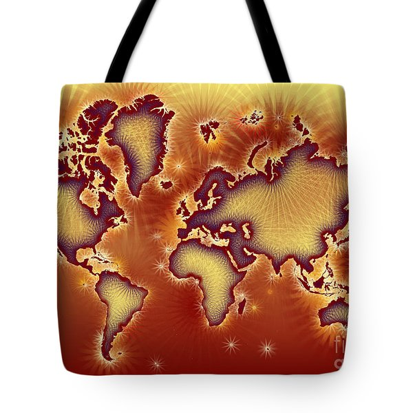 World Map Amuza In Red And Yellow Tote Bag by Eleven Corners