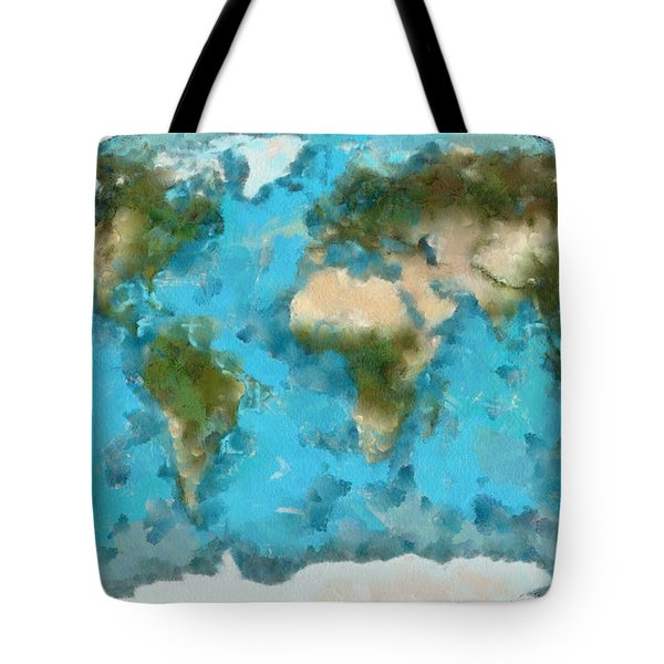 World Map Cartography Tote Bag by Georgi Dimitrov