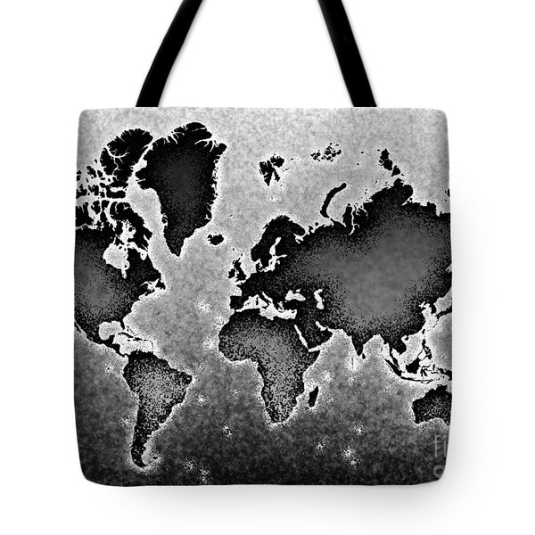 World Map Novo In Black And White Tote Bag