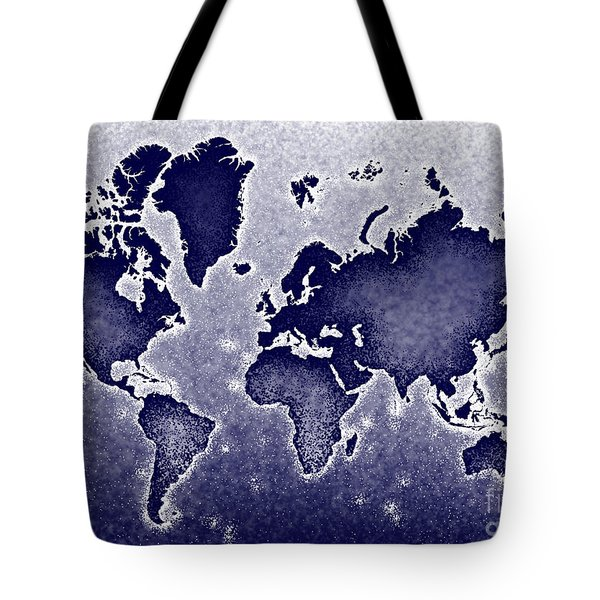 World Map Novo In Blue Tote Bag by Eleven Corners