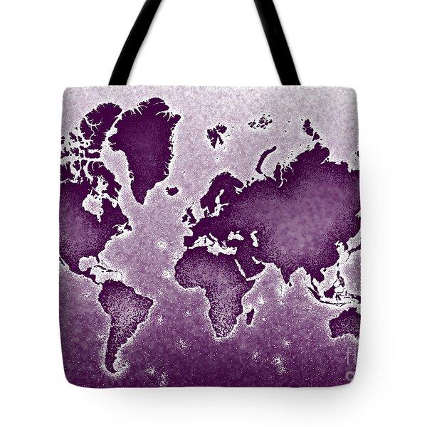 World Map Novo In Purple Tote Bag by Eleven Corners