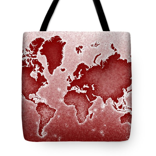 World Map Novo In Red Tote Bag by Eleven Corners