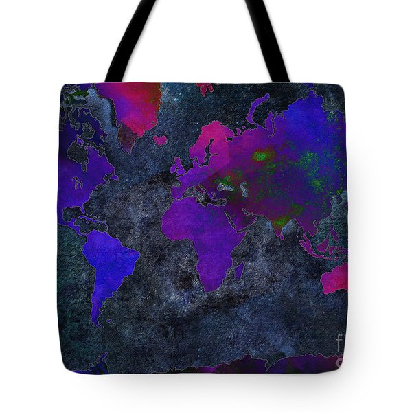 World Map - Purple Flip The Dark Night - Abstract - Digital Painting 2 Tote Bag by Andee Design