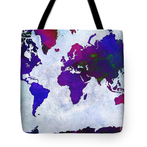 World Map - Purple Flip The Light Of Day - Abstract - Digital Painting 2 Tote Bag by Andee Design