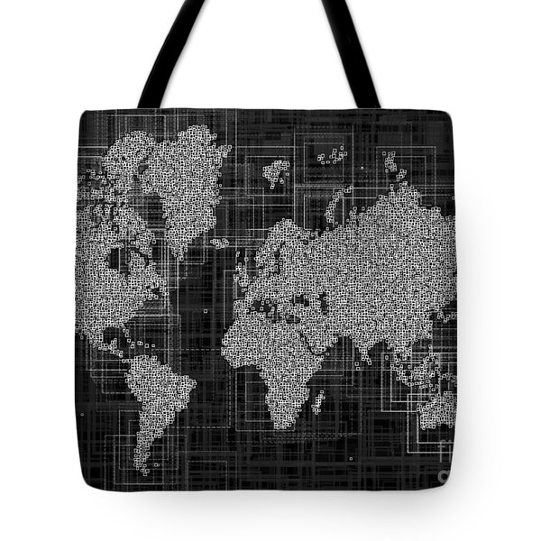 World Map Rettangoli In Black And White Tote Bag by Eleven Corners