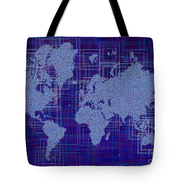 World Map Rettangoli In Blue And White Tote Bag by Eleven Corners