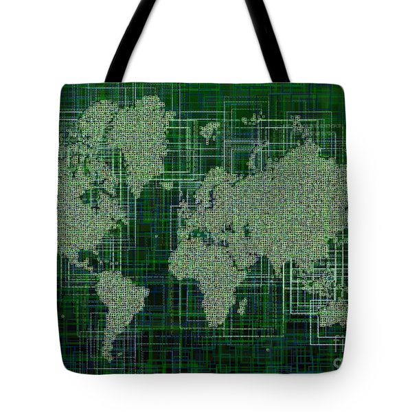 World Map Rettangoli In Green And White Tote Bag by Eleven Corners