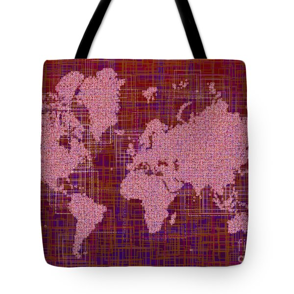 World Map Rettangoli In Pink Red And Purple Tote Bag by Eleven Corners