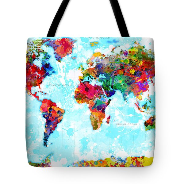 World Map Spattered Paint Tote Bag
