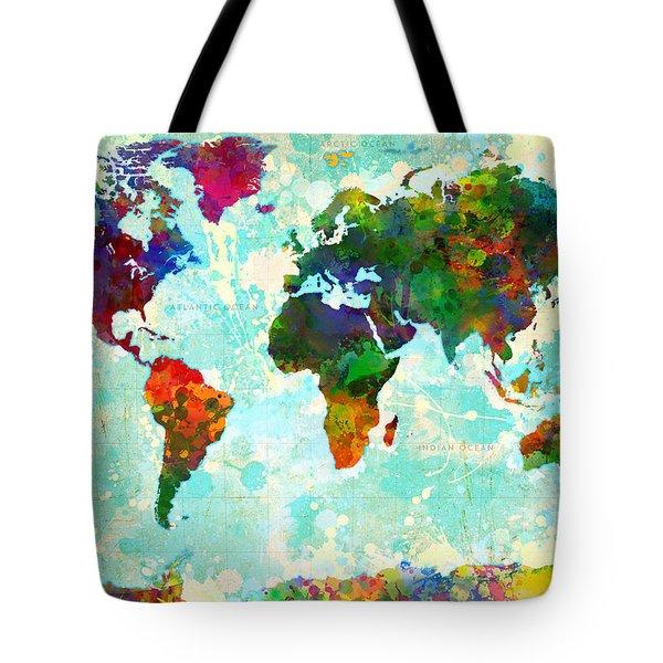 World Map Splatter Design Tote Bag