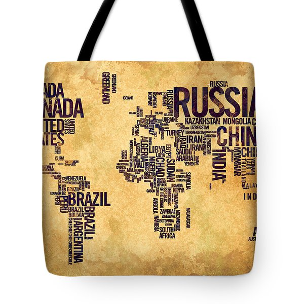 World Map Typography 6 Watercolor Painting Tote Bag