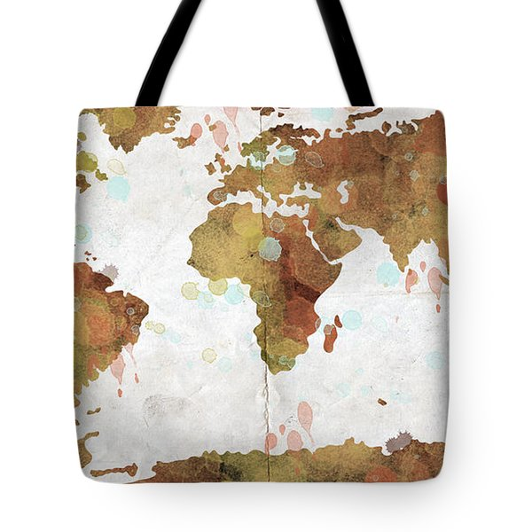 World Map Watercolor 3 Tote Bag by Paulette B Wright