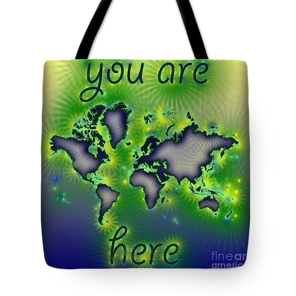 World Map You Are Here Amuza In Blue Yellow And Green Tote Bag by Eleven Corners