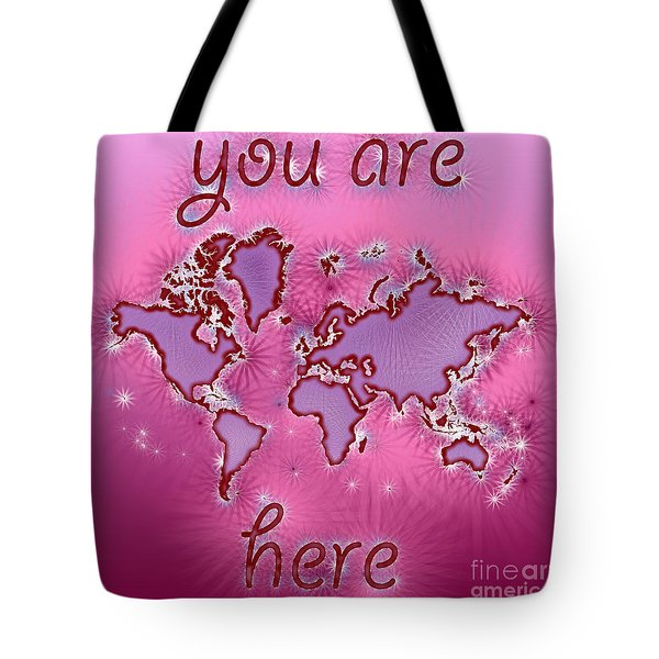 World Map You Are Here Amuza In Purple And Pink Tote Bag by Eleven Corners