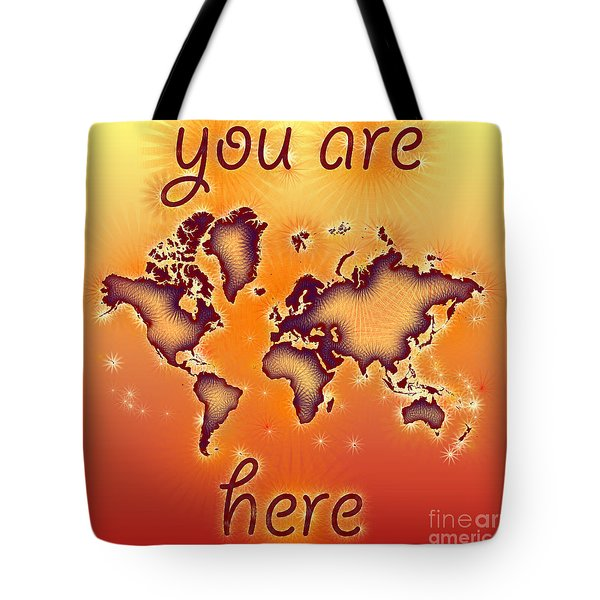 World Map You Are Here Amuza In Red Yellow And Orange Tote Bag by Eleven Corners