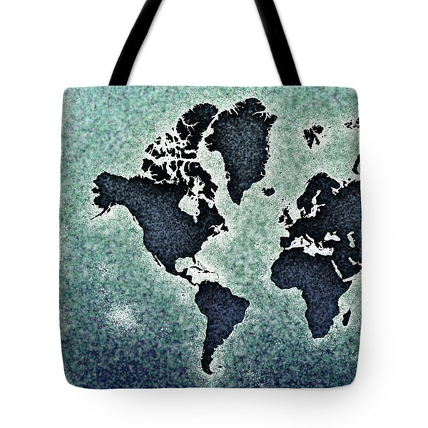 World Map You Are Here Novo In Black And Blue Tote Bag by Eleven Corners