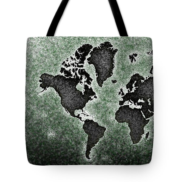 World Map You Are Here Novo In Black And Green Tote Bag by Eleven Corners