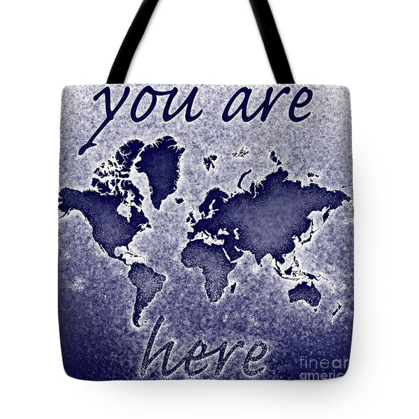 World Map You Are Here Novo In Blue Tote Bag by Eleven Corners
