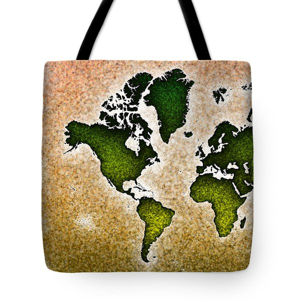 World Map You Are Here Novo In Green And Orange Tote Bag