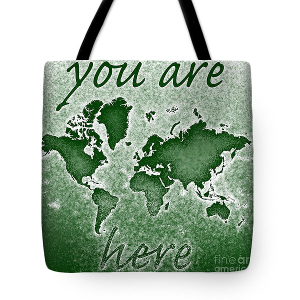 World Map You Are Here Novo In Green Tote Bag by Eleven Corners