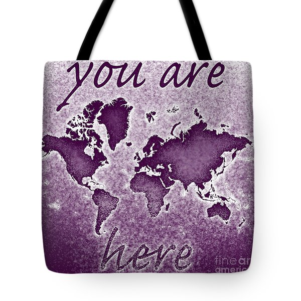 World Map You Are Here Novo In Purple Tote Bag by Eleven Corners