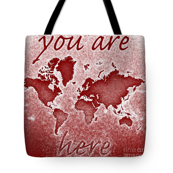 World Map You Are Here Novo In Red Tote Bag by Eleven Corners