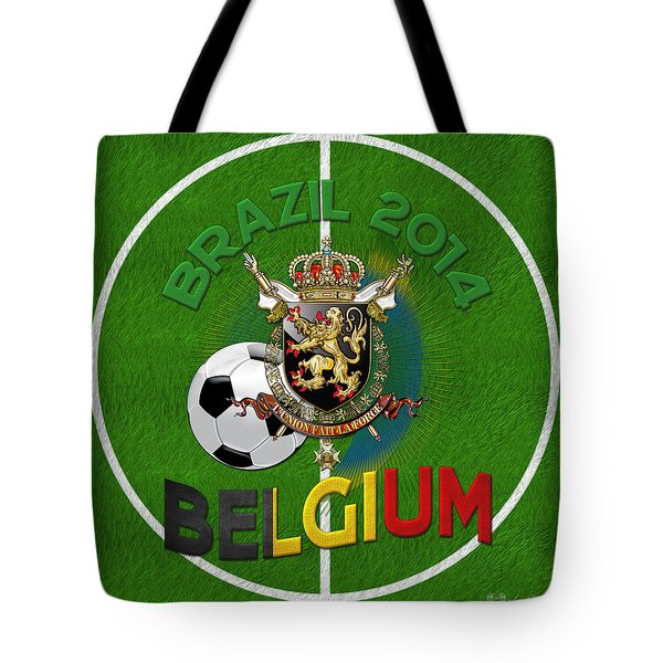 World Of Soccer 2014 - Belgium Tote Bag by Serge Averbukh