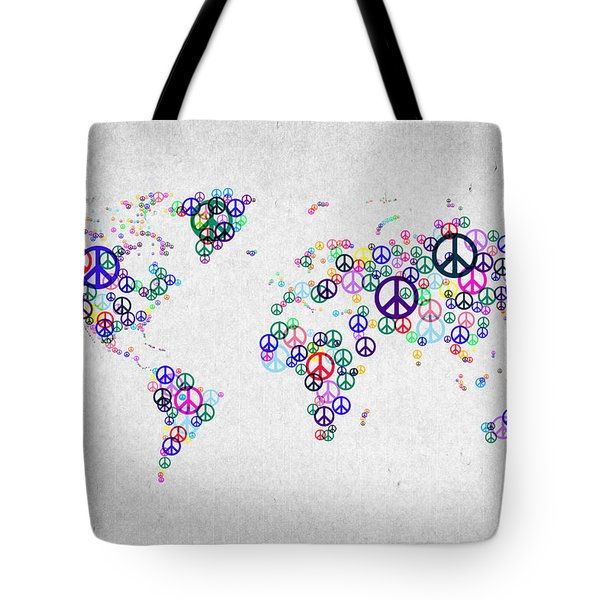 World Peace Map Tote Bag by Aged Pixel