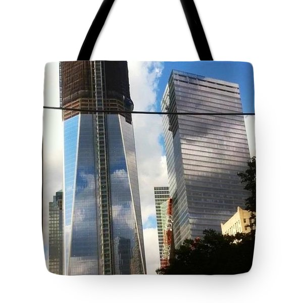 Tote Bag featuring the photograph World Trade Center Twin Tower by Susan Garren