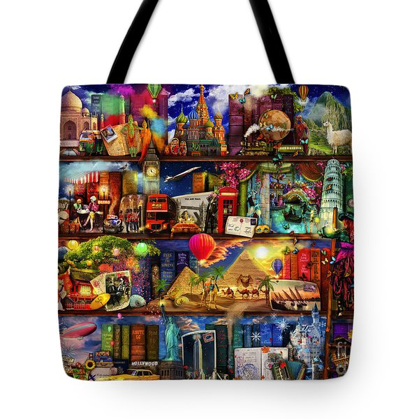World Travel Book Shelf Tote Bag by Aimee Stewart