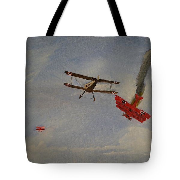 World War I Dogfight 3 Planes In Battle Tote Bag by Carl S Kralich