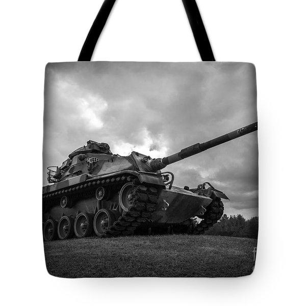 World War II Tank Black And White Tote Bag