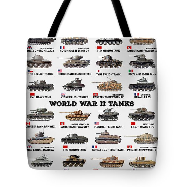 Tote Bag featuring the digital art World War II Tanks by Taylan Apukovska