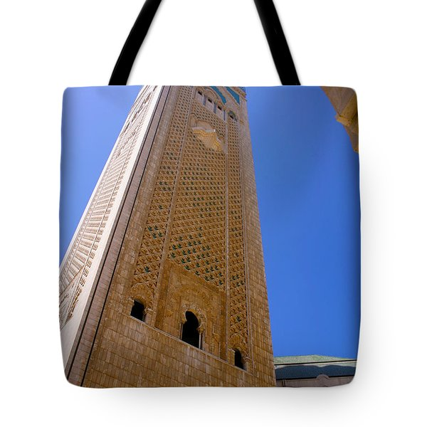 Tote Bag featuring the photograph Worlds Tallest Minaret At 210m Hassan II Mosque Grand Mosque Sour Jdid Casablanca Morocco by Ralph A  Ledergerber-Photography
