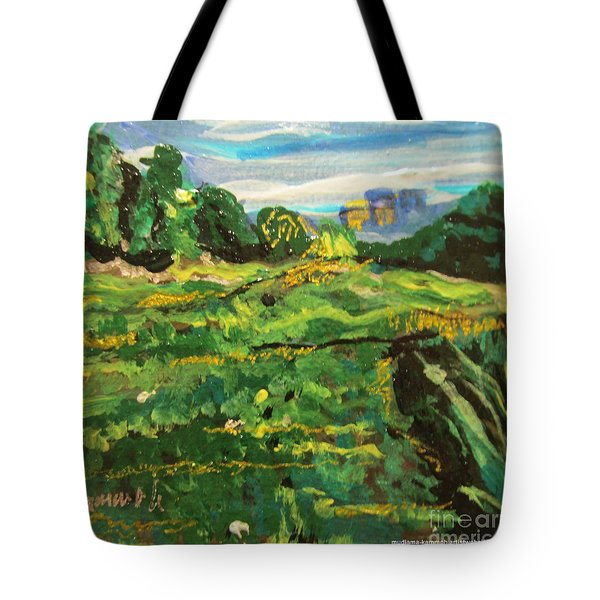 Tote Bag featuring the painting Wormwood Scrubs Walk 02 by Mudiama Kammoh