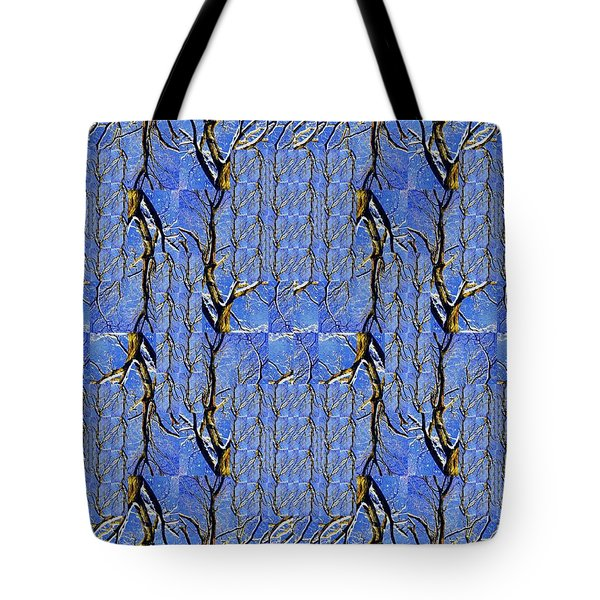 Woven Tree In Blue And Gold Tote Bag