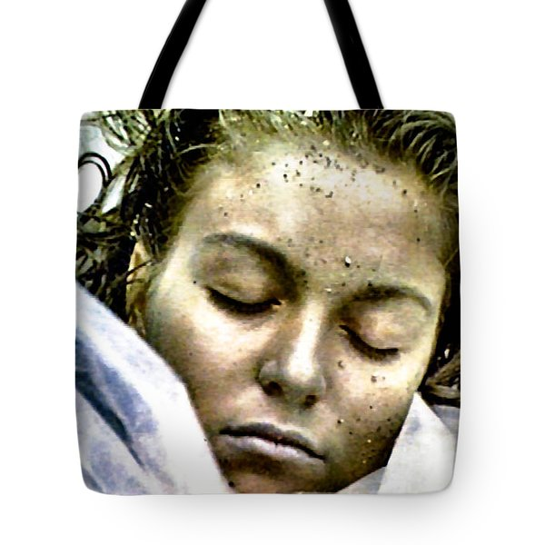 Tote Bag featuring the painting Wrapped In Plastic by Luis Ludzska