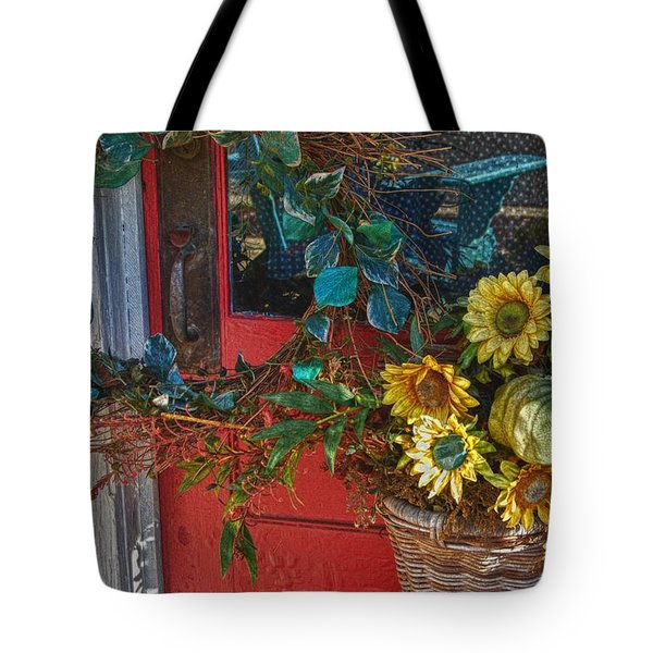 Wreath And The Red Door Tote Bag by Michael Thomas