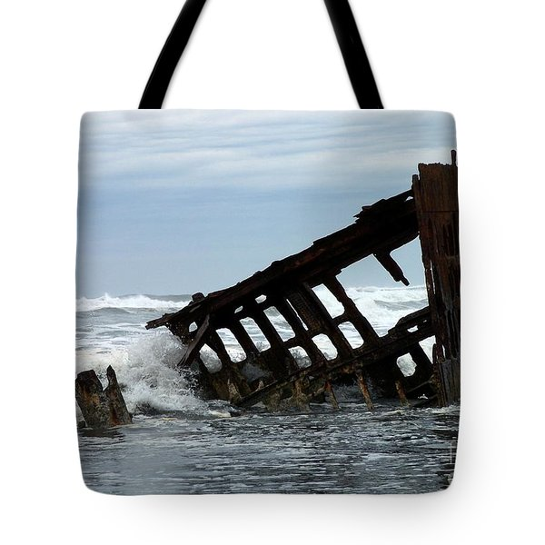 Tote Bag featuring the photograph Wreck Of The Peter Iredale by Chalet Roome-Rigdon