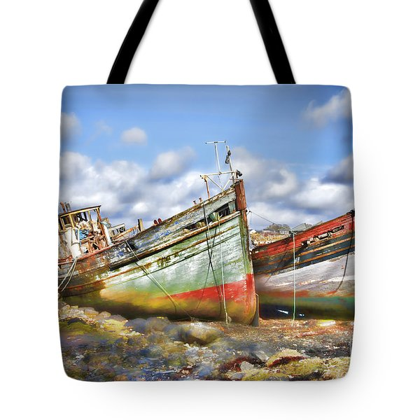 Tote Bag featuring the photograph Wrecked Boats by Craig B