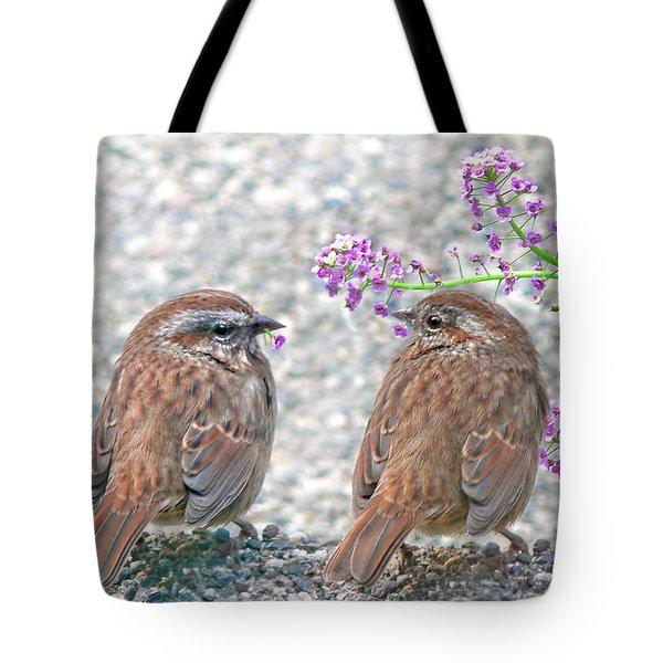 Wren Bird Sweethearts Tote Bag by Jennie Marie Schell