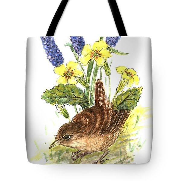 Wren In Primroses  Tote Bag by Nell Hill