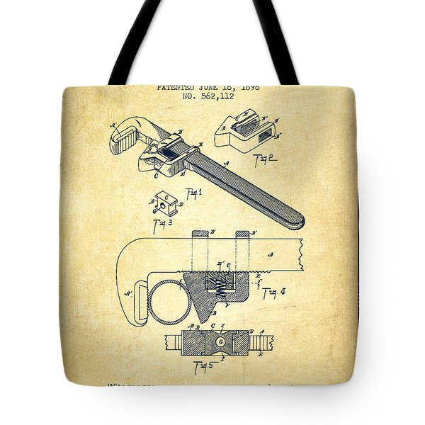 Wrench Patent Drawing From 1896 - Vintage Tote Bag