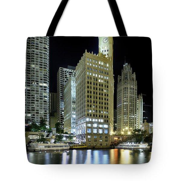 Wrigley Building At Night  Tote Bag by Sebastian Musial