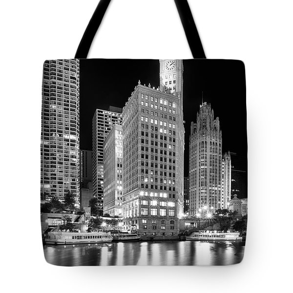 Wrigley Building Reflection In Black And White Tote Bag by Sebastian Musial