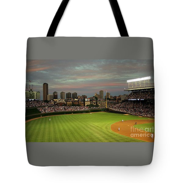 Wrigley Field At Dusk Tote Bag