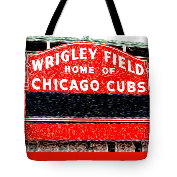 Wrigley Field Chicago Cubs Sign Digital Painting Tote Bag by Paul Velgos